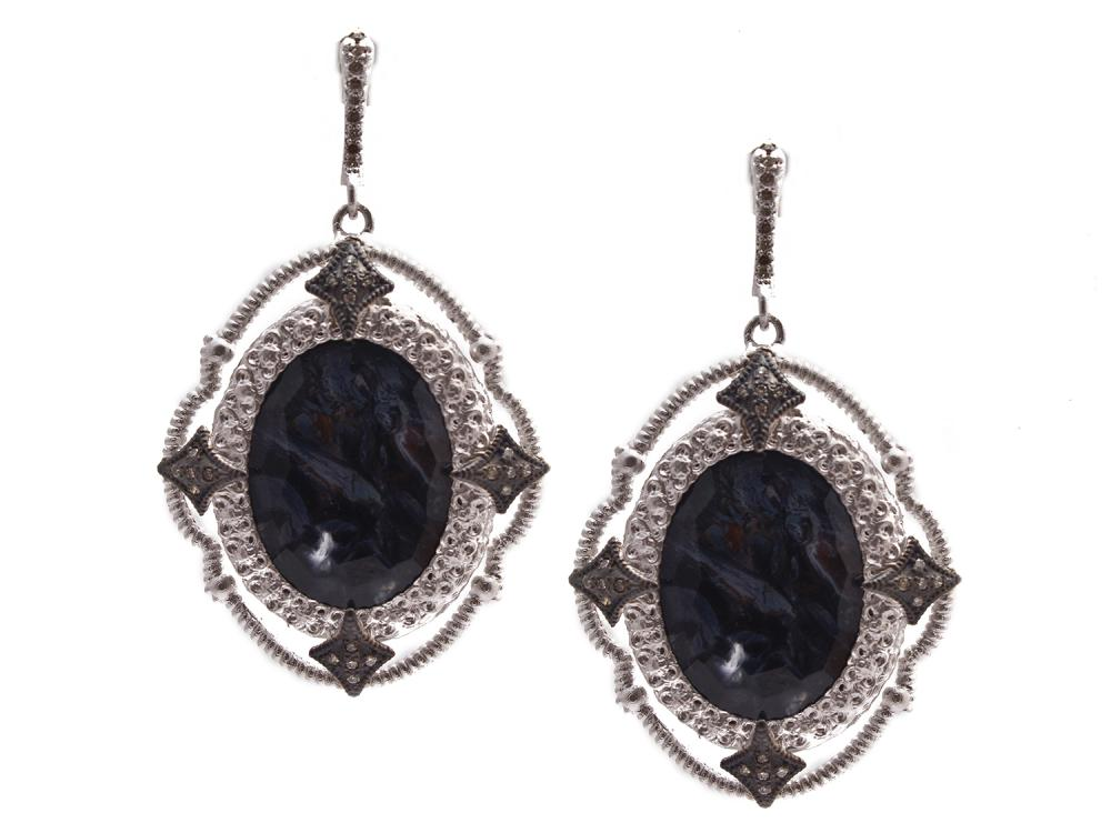 Armenta New World Open Scroll Pietersite Earrings with Diamonds JKFmWX