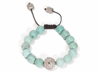 "Collection: New WorldStyle #: 07008Description: Sterling silver vintage finish 7.5"" turquoise beaded bracelet with white and black diamonds. Diamond Weight 0.4ctMetal: .925 Sterling Silver"