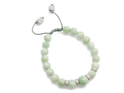 Collection: New WorldStyle #: 10674Description: New World multi-size Green Moonstone beaded bracelet with champagne diamonds. Diamond Weight 0.24ct