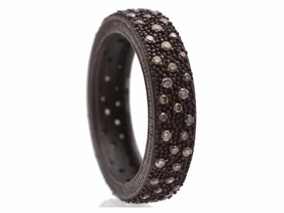 Collection: New WorldStyle #: 10717Description: New World Oxidized Sterling Silver all-black 5mm wide band ring with pave champagne diamonds. Diamond Weight 0.45ct