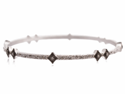 Collection: New WorldStyle #: 10716Description: New World Oxidized Sterling Silver and sterling silver scattered crivelli bangle bracelet with pave champagne diamonds. Diamond Weight 0.43ct