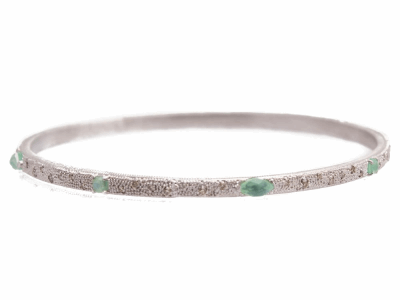 Collection: New WorldStyle #: 10713Description: New World scattered Chrysoprase/Rainbow Moonstone doublets bangle with champagne diamonds. Diamond Weight 0.52ct