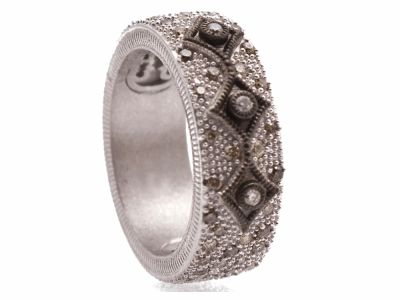 Collection: New WorldStyle #: 10718Description: New World Oxidized Sterling Silver and sterling silver 7.5mm wide crivelli band ring with pave champagne diamonds. Diamond Weight 0.6ct