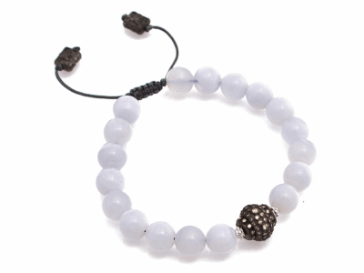Collection: New WorldStyle #: 10771Description: New World blackened pave ball beaded bracelet with Chalcedony beads and champagne diamonds. Diamond Weight 0.14ct