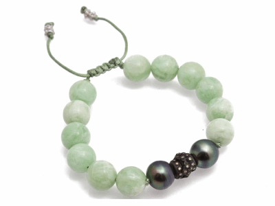 Collection: New WorldStyle #: 10811Description: New World Oxidized Sterling Silver and sterling silver stack-station and hanging tassel bracelet with Green Moonstone beads, Tahitian Pearl and champagne diamonds. Diamond Weight 0.22ct