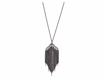 """Collection: Old World Style #: 13786 Description: Old World blackened sterling silver/18k yellow gold 28""""-30"""" crivelli black multi-chain tassel necklace with champagne diamonds. Diamond weight - 0.06 ct.Metal: .925 Sterling Silver/18k Yellow Gold"""