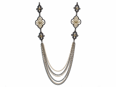 """Collection: Old World Style #: 9383 Description: Old World blackened sterling silver/18k yellow gold 36"""" open multi-scroll necklace with champagne diamonds.Metal: .925 Sterling Silver/18k Yellow Gold"""