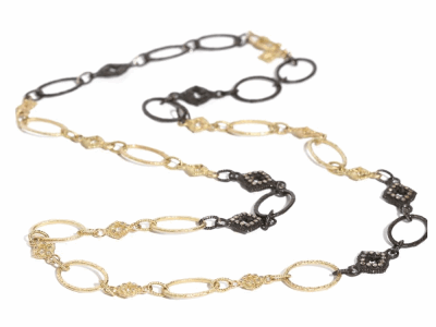 """Collection: Old World Style #: 03691 Description: 25.5"""" blackened sterling silver/18k yellow gold variegated oval and scroll station necklace with champagne diamonds.Metal: .925 Sterling SilverS/18k Yellow Gold"""