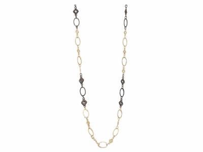 "Collection: Old World Style #: 05737 Description: Blackened sterling silver and 18k yellow gold 28"" variegated oval and scroll station necklace with champagne diamonds.Metal: .925 Sterling SilverS/18k Yellow Gold"