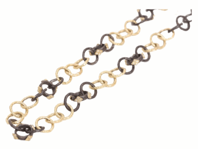 Collection: Old World Style #: 02615 Description: Yellow Gold and Old World sculpted round link necklace with Yellow Gold cravellis.Metal: .925 Sterling SilverS/18k Yellow Gold