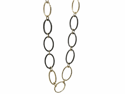 """Collection: Old World Style #: 00995 Description: Old World 35.5"""" flattened oval link necklace.Metal: .925 Sterling SilverS/18k Yellow Gold"""