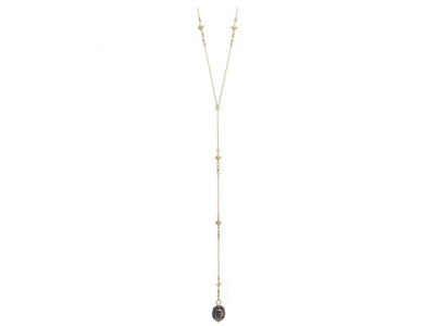 "Collection: Old World Style #: 11664 Description: Sueno 18k yellow gold 22"" carved South Sea Tahitian Pearl drop lariat necklace with champagne diamonds. Diamond Weight 0.3ct"