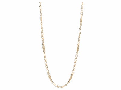 "Collection: Sueno Style #: 05799 Description: 18k Yellow gold 18"" double sided cable chain necklace with champagne diamonds scrolls. Diamond Weight .59 ct.Metal: 18k Yellow Gold"
