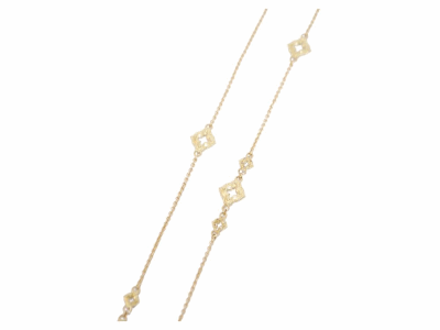 """Collection: Old World Style #: 03101 Description: 36"""" Yellow Gold clover scroll station necklace with champagne diamonds on 1mm chain. (Has 4 large open clover stations.)Metal: 18k Yellow Gold"""