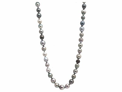 """Collection: Old World Style #: 10481 Description: Old World Oxidized Sterling Silver all-black 20""""-22"""" South Sea Tahitian Pearl necklace with champagne diamonds. Diamond Weight 0.22ct"""