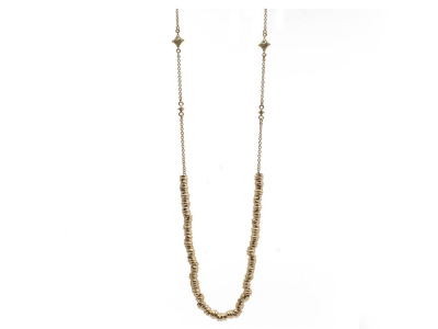 "Collection: Old World Style #: 12605 Description: Sueno 18k yellow gold 31"" small electroform nugget station necklace with white diamond crivellis."
