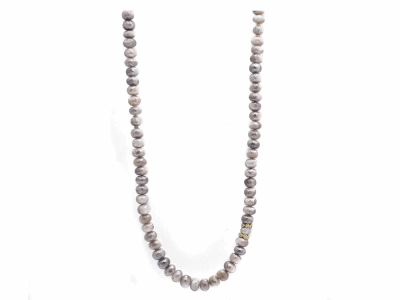"Collection: Old World Style #: 11641 Description: Old World blackened sterling silver/18k yellow gold 40"" faceted Mystic Moonstone beaded necklace with champagne diamonds. Diamond Weight 0.48ct"