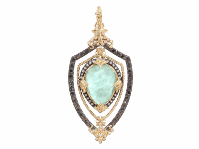 Collection: Old World Style #: 02714 Description: Old World open shield enhancer with quartz/green turquoise pear doublet and black and white diamonds.Metal: .925 Sterling SilverS/18k Yellow Gold