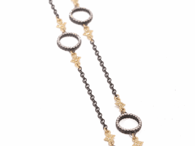 "Collection: Old World Style #: 24520 Description: Old World 31"" blackened sterling silver Heraldry cable chain w/ cravelli stations and diamond circles with champagne diamonds.Metal: .925 Sterling Silver/18k Yellow Gold"