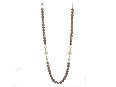 "Collection: Old World Style #: 11645 Description: Old World blackened sterling silver/18k yellow gold 36"" faceted 8mm Brown Moonstone scroll beaded necklace."
