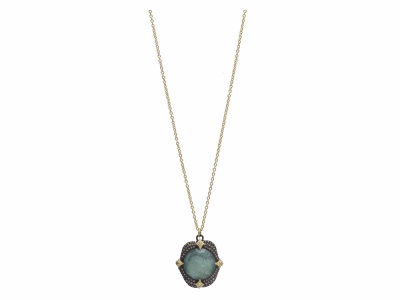 "Collection: Old World Style #: 11669 Description: Old World blackened sterling silver/18k yellow gold 16""-18"" 16mm round pave crivelli-prong necklace with Emerald/White MOP/White Quartz triplet and white and champagne diamonds. Diamond Weight 0.58ct"