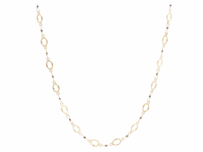 "Collection: Sueno Style #: 07472 Description: Sueno 18k yellow gold 18"" iris chain with black diamonds.Metal: 18k Yellow Gold"
