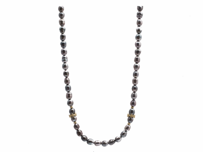 """Collection: Old World Style #: 13740 Description: Old World blackened sterling silver/18k yellow gold 15.5""""-16.5""""-17.5"""" Tahitian Keshi Pearl beaded necklace with champagne diamonds. Diamond weight - 0.24 ct.Metal: .925 Sterling Silver/18k Yellow Gold"""