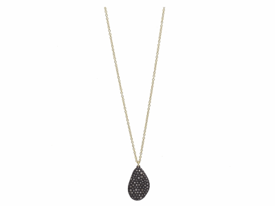 "Collection: Old World Style #: 11636 Description: Old World blackened sterling silver/18k yellow gold 18""-20"" 23mm pave bean-shaped drop necklace with champagne diamonds. Diamond Weight 0.86ct"