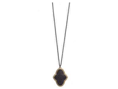 """Collection: Old World Style #: 12022 Description: New World blackened sterling silver/sterling silver 18""""-20"""" medium 16mm round crivelli drop necklace with Australian Black Opal/White Quartz doublet and champagne diamonds. Diamond Weight 0.14ct"""