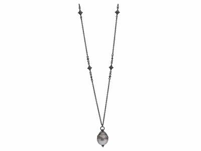 "Collection: Old World Style #: 11568 Description: Old World Midnight all-black 36"" carved South Sea Tahitian Pearl pendant necklace on crivelli chain with champagne diamonds. Diamond Weight 0.38ct"