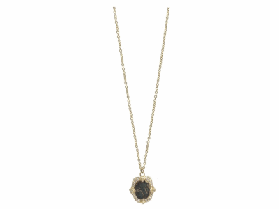 "Collection: Old World Style #: 11711 Description: Sueno 18k yellow gold 18""-20"" 12x10 oval Togetherness Coin artifact drop necklace with white diamonds. Diamond Weight 0.25ct"