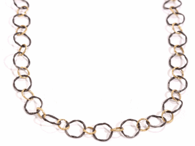 "Collection: Old World Style #: 02244 Description: 35"" Old World/Yellow Gold circle link necklace.Metal: .925 Sterling SilverS/18k Yellow Gold"