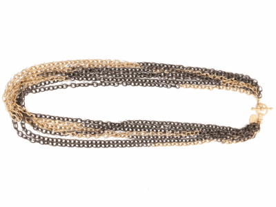 """Collection: Old World Style #: 01372 Description: 16"""" Old World/Yellow Gold 7 strand chain necklace with petite toggle.Metal: .925 Sterling Silver/18k Yellow Gold"""