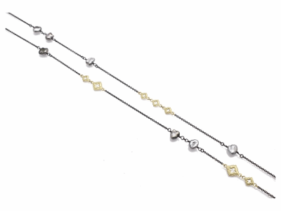 "Collection: Old World Style #: 11632 Description: Old World blackened sterling silver/18k yellow gold 36"" scroll chain necklace with Keshi Pearls."