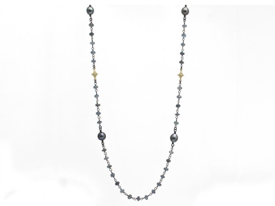 """Collection: Old World Style #: 11631 Description: Old World blackened sterling silver/18k yellow gold 38"""" crivelli beaded necklace with Aquamarine beads, South Sea Tahitian Pearls and champagne diamonds. Diamond Weight 0.19ct"""