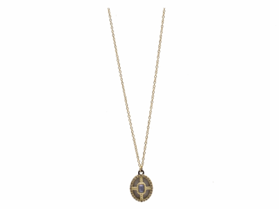 "Collection: Old World Style #: 9855 Description: Old World blackened sterling silver/18k yellow gold 16""-18"" petite carved White Mosaic oval drop necklace with Blue Sapphire/MOP/Quartz triplet and white diamonds.Metal: .925 Sterling Silver/18k Yellow Gold"