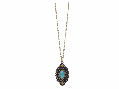 "Collection: Old WorldStyle #: 12454Description: Old World blackened sterling silver/18k yellow gold 18""-20"" 30mm marquis cluster drop necklace with Neon Apatite/White Quartz doublet, champagne diamonds and white sapphires."