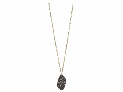 "Collection: Old World Style #: 11589 Description: Old World blackened sterling silver/18k yellow gold 18""-20"" 23mm long pave bean-shaped drop necklace with champagne diamonds. Diamond Weight 0.71ct"