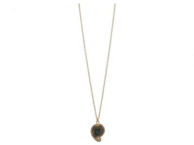 "Collection: Sueno Style #: 10380 Description: Sueno 18K Yellow Gold 16""-18"" petite paisley artifact drop necklace with white diamonds. Diamond Weight 0.26ct"