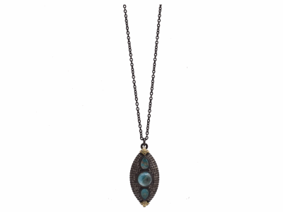 Collection: Old World Style #: 12494 Description: Old World blackened sterling silver/18k yellow gold large marquis drop necklace with Peruvian Opal/White MOP/White Quartz triplets and white and champagne diamonds.