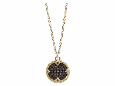 "Collection: Old World Style #: 10533 Description: Old World Oxidized Sterling Silver and 18K Yellow Gold 16""-18"" 16.75mm carved disc pendant necklace with pave ombrechampagne diamonds. Diamond Weight 0.26ct"