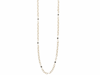 """Collection: Old World Style #: 01246 Description: Small 16"""" light cable chain neck. (.75cts) with black diamonds and sm. toggle.Metal: 18k Yellow Gold"""