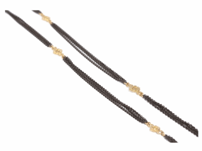 """Collection: Old World Style #: 36880 Description: Old World 36"""" blackened sterling silver 3 strand cable chain w/ 6 open cravelli stations.Metal: .925 Sterling Silver/18k Yellow Gold"""