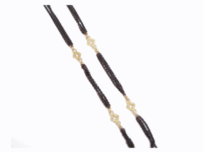 "Collection: Old World Style #: 31480 Description: 20"" blackened sterling silver 3 strand cable chain w/ 4 open cravelli stations.Metal: .925 Sterling Silver/18k Yellow Gold"