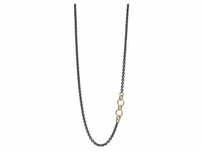 "Collection: Old World Style #: 13636 Description: Old World blackened sterling silver/18k yellow gold 16""-18"" small and medium circle link chain necklace with white diamonds. Diamond weight - 0.24 ct.Metal: .925 Sterling Silver/18k Yellow Gold"