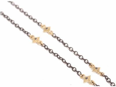 "Collection: Old World Style #: 02318 Description: 16"" Old World Heraldry cable chain with cravelli stations with black diamonds.Metal: .925 Sterling SilverS/18k Yellow Gold"