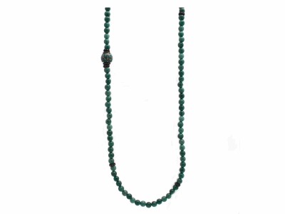 "Collection: Old World Style #: 9483 Description: Old World blackened sterling silver/18k yellow gold 40"" stack station beaded necklace with 6mm Mossy Aventurine beads, Ancient trading beads and champagne diamonds.Metal: .925 Sterling Silver/18k Yellow Gold"