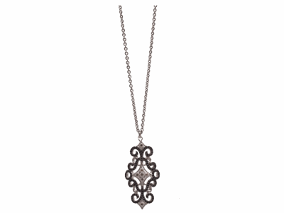 "Collection: Old World Style #: 12865 Description: New World blackened sterling silver/sterling silver 16""-18"" 37mm crivelli pave scroll necklace with champagne diamonds and black spinel."