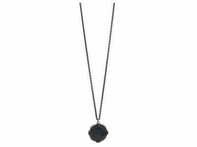 "Collection: Old World Style #: 12022 Description: New World blackened sterling silver/sterling silver 18""-20"" medium 16mm round crivelli drop necklace with Australian Black Opal/White Quartz doublet and champagne diamonds. Diamond Weight 0.14ct"