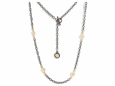 "Collection: Old World Style #: 05029 Description: Blackened sterling silver 16"" & 18"" cable chain with 18k yellow gold scroll components.Metal: .925 Sterling Silver/18k Yellow Gold"